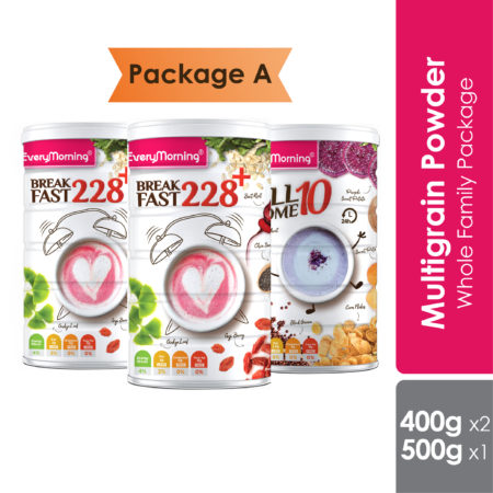 Everymorning Multigrain Package included Breakfast 228+ and Allsome10, both are wholesome multigrain for whole family.