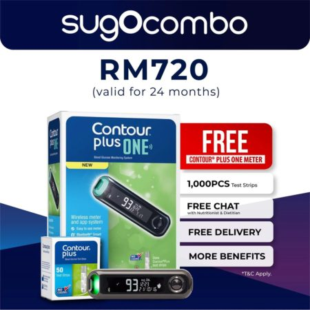 Sugo Combo Glucose Subscription Plan (Contour Plus One Meter + Test Strip 1,000s + 24 Months Free Mobile Apps Tracking)